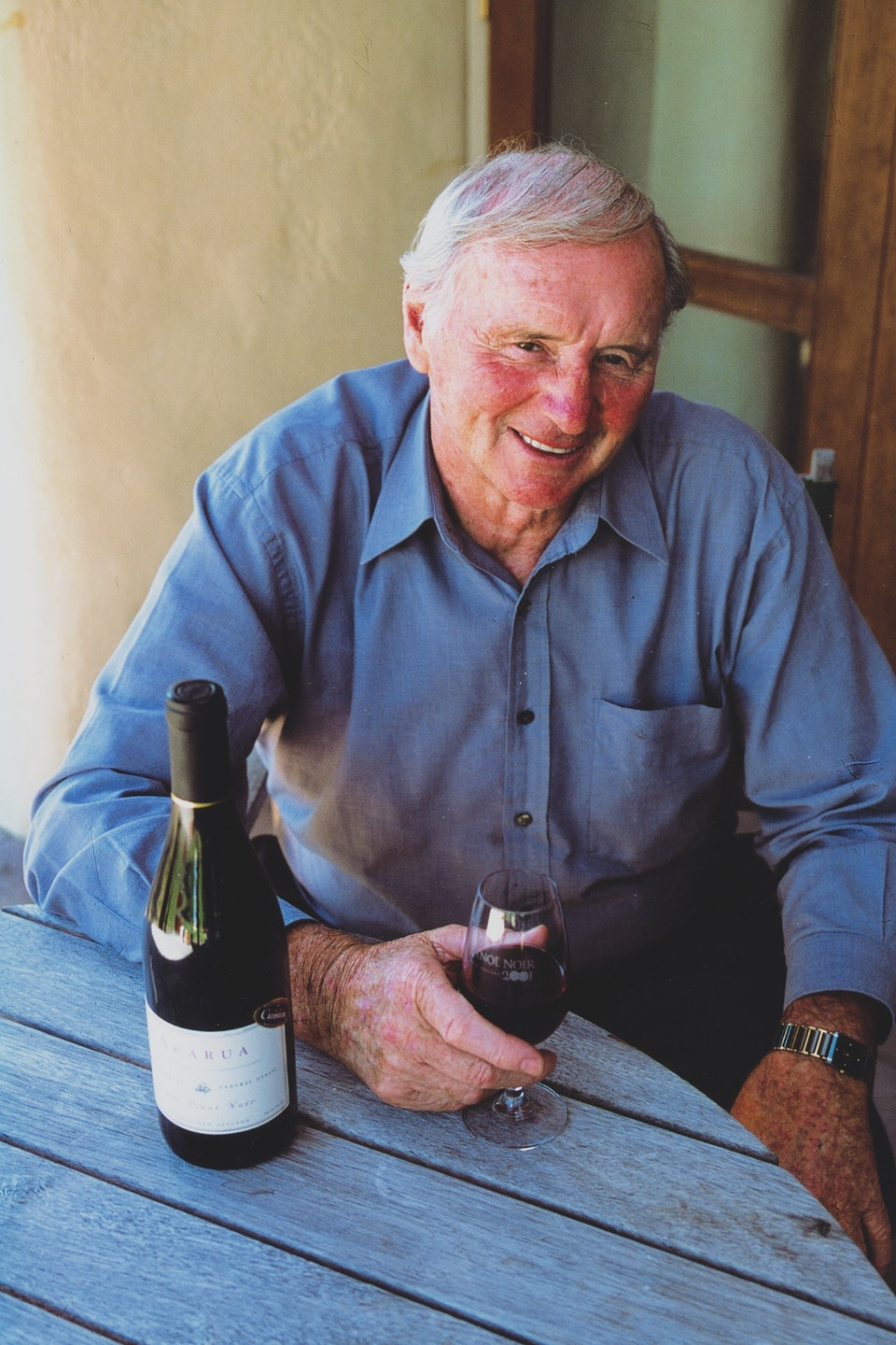Sir Cliff Enjoying the First Ever Vintage of Akarua Pinot Noir 1999